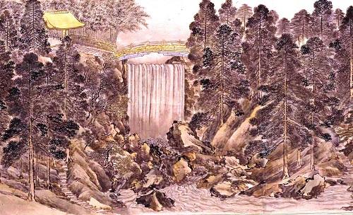 「戸山荘図」より鳴鳳渓又は龍門の滝