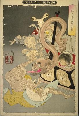 月岡芳年「新形三十六怪撰」おもゐつゝら(明治25年・1892)