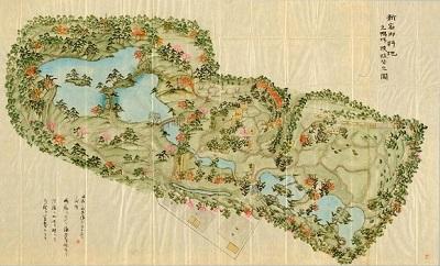 新宿御料地 元鴨場模様替之図 明治35年(1902)宮内公文書館蔵