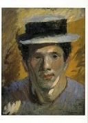中村彝「麦わら帽子の自画像」絵はがき